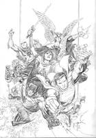 JUSTICE LEAGUE #1 JIM CHEUNG PENCILS ONLY VAR ED
